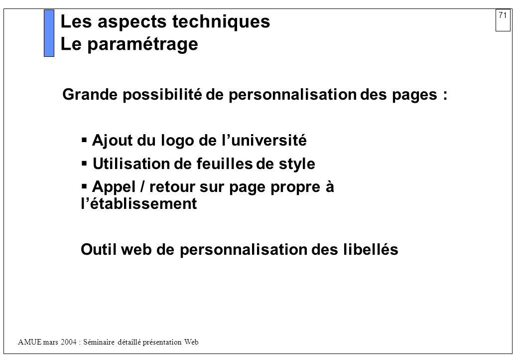 71 AMUE mars 2004 : Séminaire détaillé présentation Web Les aspects techniques Le paramétrage Grande possibilité de personnalisation des pages : Ajout
