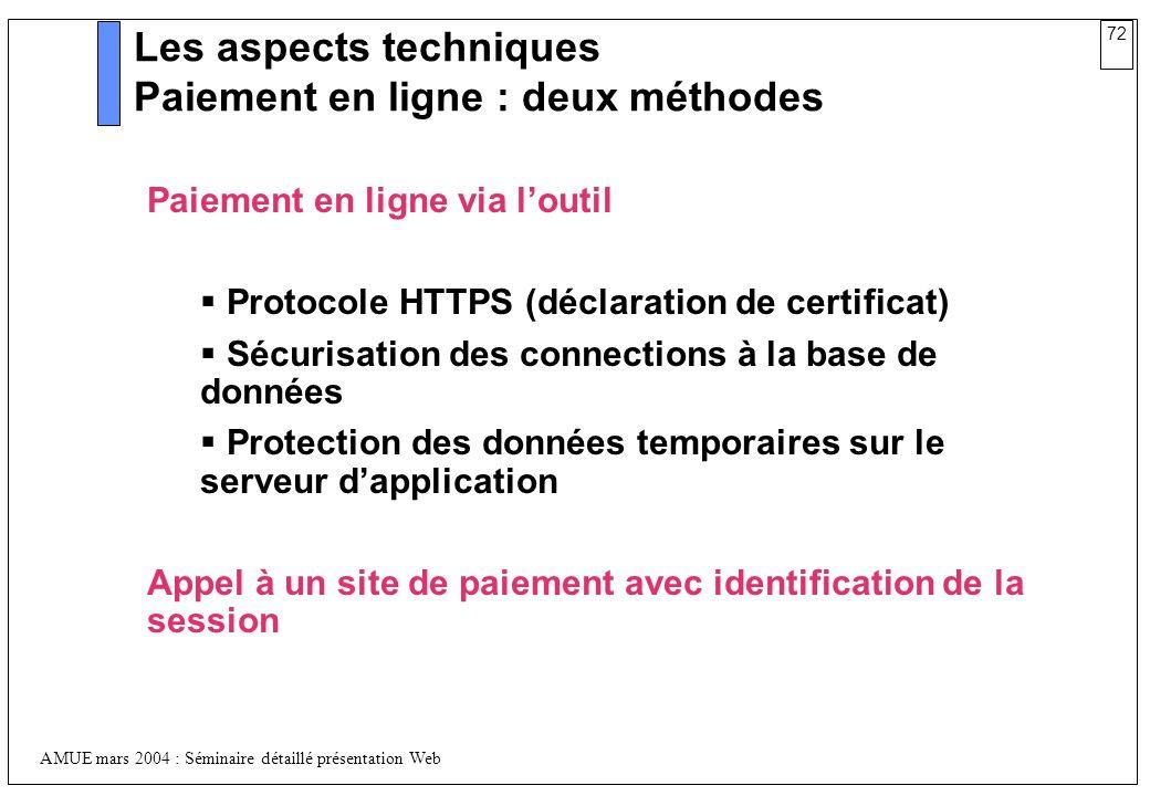 72 AMUE mars 2004 : Séminaire détaillé présentation Web Les aspects techniques Paiement en ligne : deux méthodes Paiement en ligne via loutil Protocol