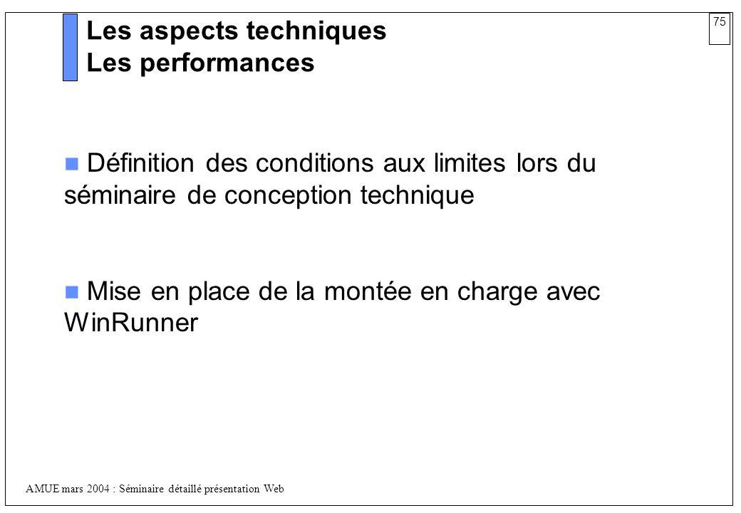 75 AMUE mars 2004 : Séminaire détaillé présentation Web Les aspects techniques Les performances Définition des conditions aux limites lors du séminair