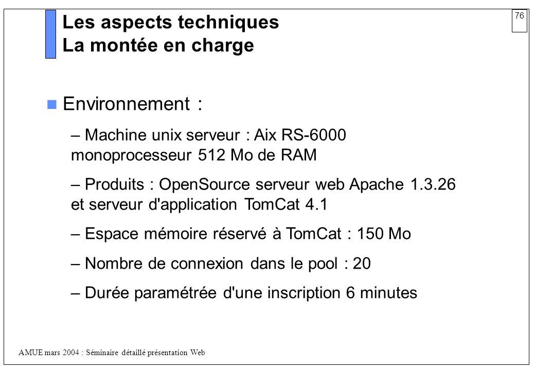 76 AMUE mars 2004 : Séminaire détaillé présentation Web Les aspects techniques La montée en charge Environnement : – Machine unix serveur : Aix RS-600