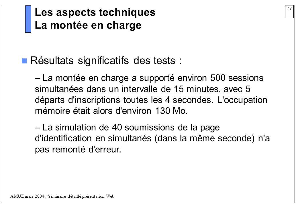 77 AMUE mars 2004 : Séminaire détaillé présentation Web Les aspects techniques La montée en charge Résultats significatifs des tests : – La montée en
