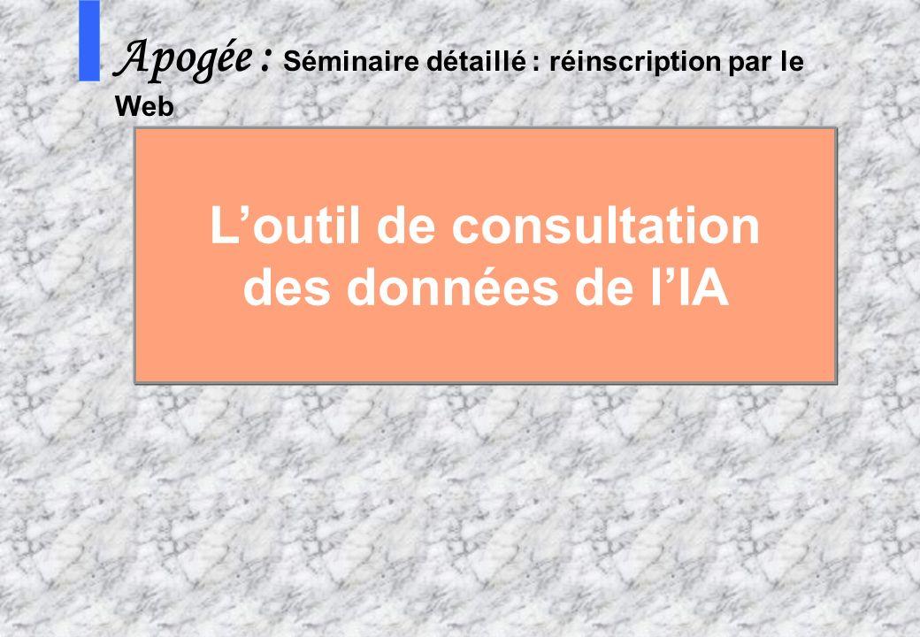 8 AMUE mars 2004 : Séminaire détaillé présentation Web S Apogée : Séminaire détaillé : réinscription par le Web Loutil de consultation des données de