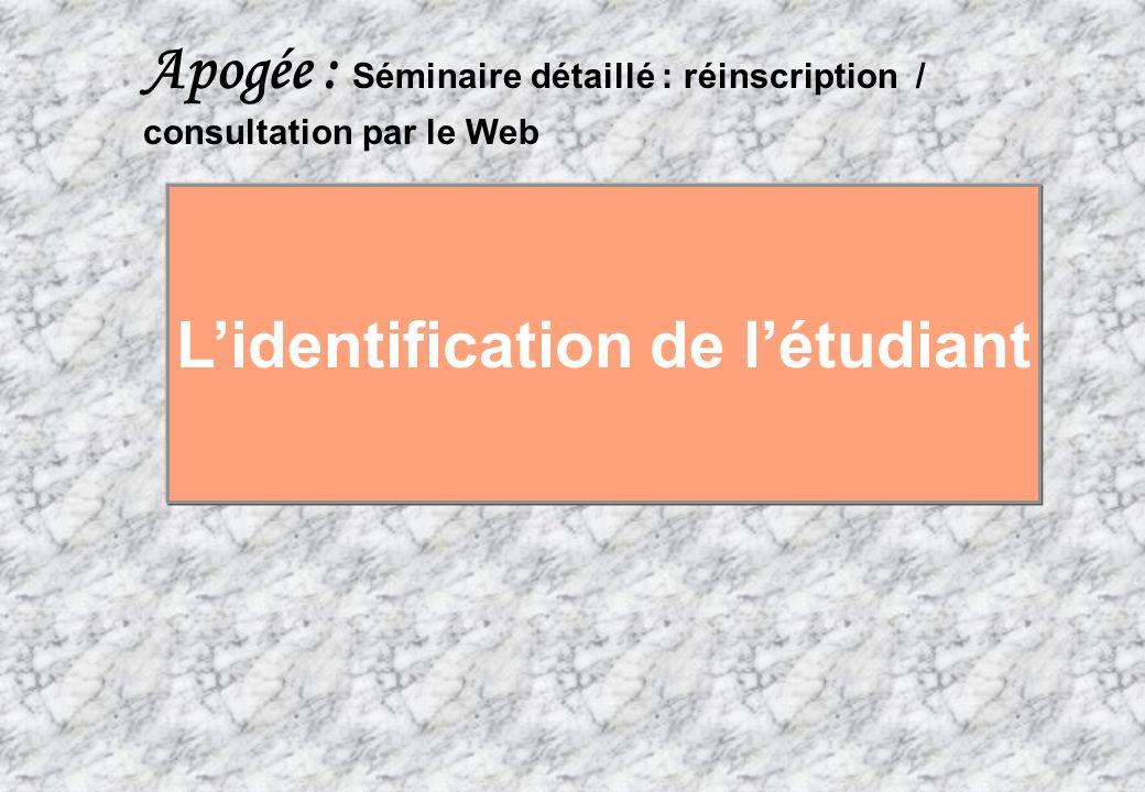 84 AMUE mars 2004 : Séminaire détaillé présentation Web SS Apogée : Séminaire détaillé : réinscription / consultation par le Web Lidentification de lé