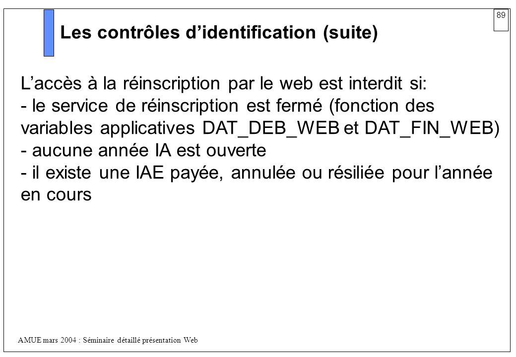 89 AMUE mars 2004 : Séminaire détaillé présentation Web Les contrôles didentification (suite) Laccès à la réinscription par le web est interdit si: -