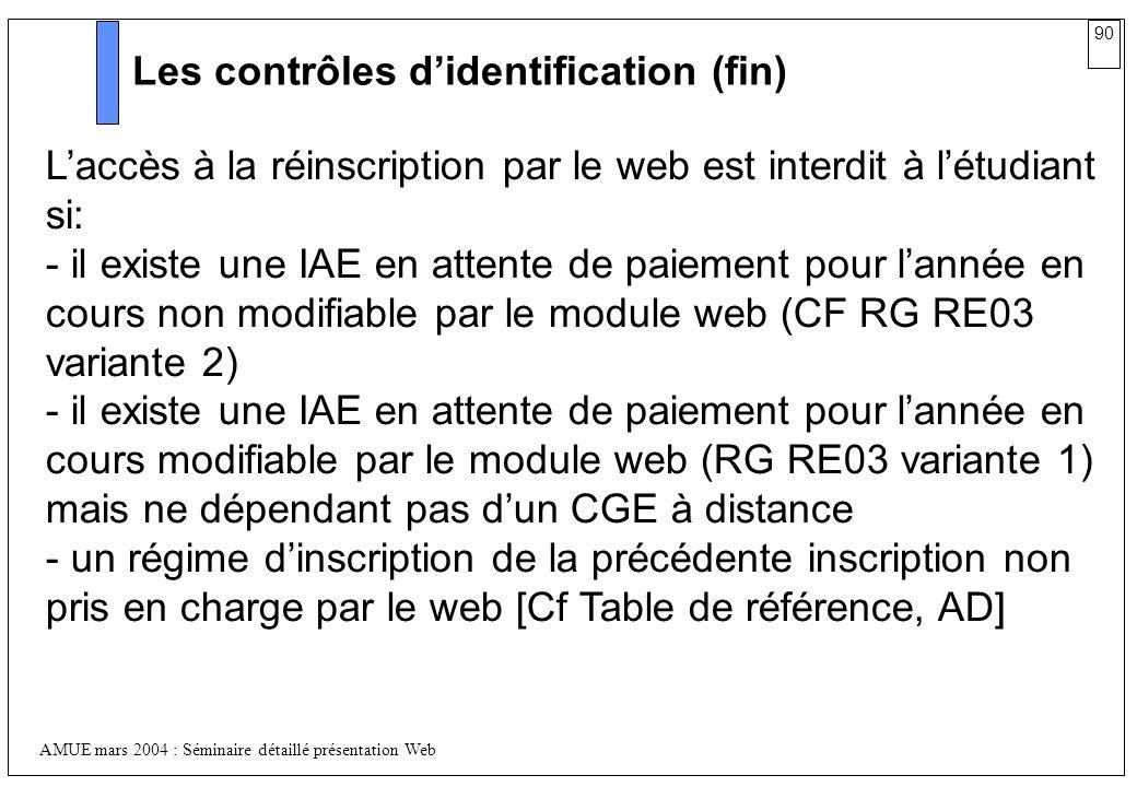 90 AMUE mars 2004 : Séminaire détaillé présentation Web Les contrôles didentification (fin) Laccès à la réinscription par le web est interdit à létudi