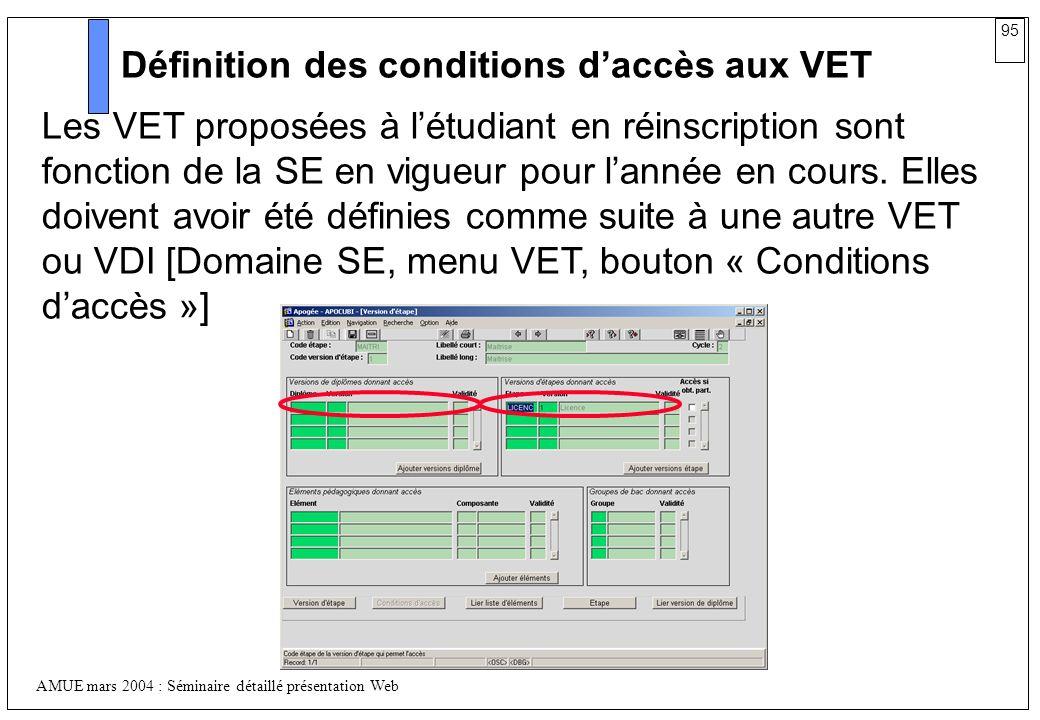 95 AMUE mars 2004 : Séminaire détaillé présentation Web Définition des conditions daccès aux VET Les VET proposées à létudiant en réinscription sont f