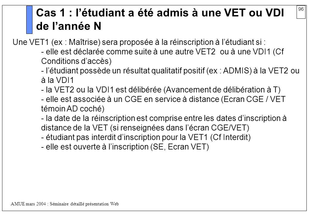 96 AMUE mars 2004 : Séminaire détaillé présentation Web Cas 1 : létudiant a été admis à une VET ou VDI de lannée N Une VET1 (ex : Maîtrise) sera propo