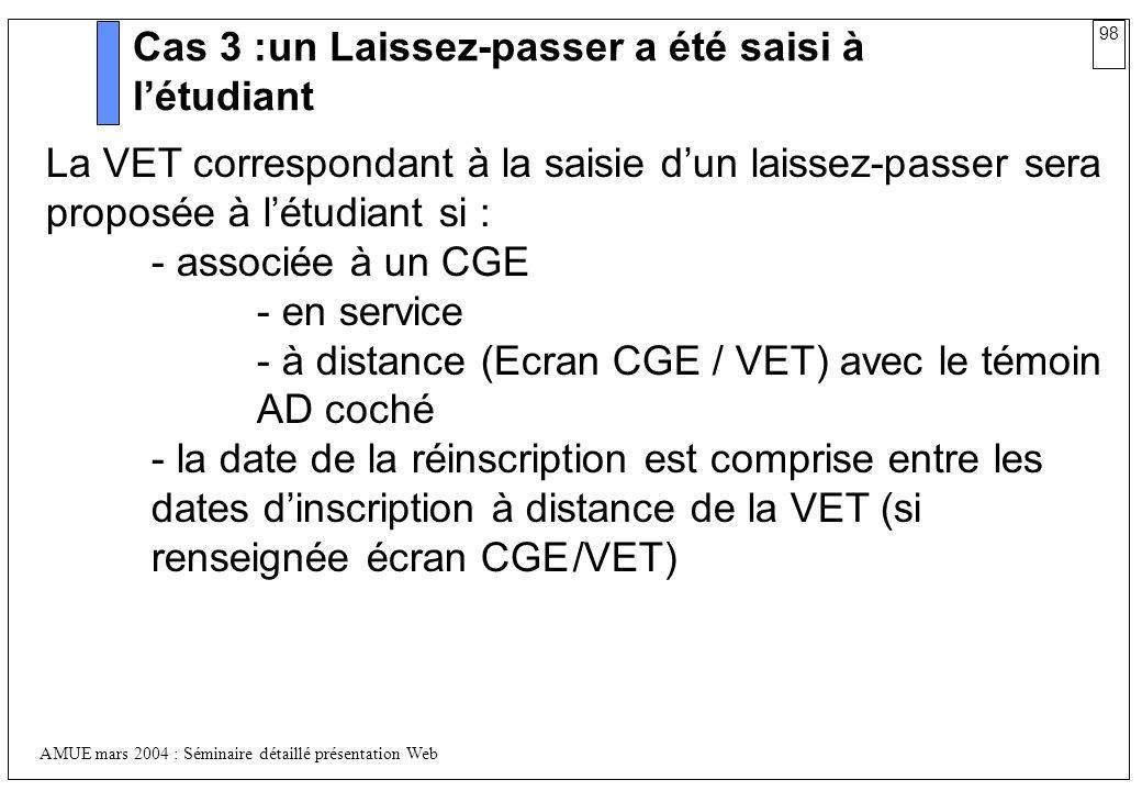 98 AMUE mars 2004 : Séminaire détaillé présentation Web Cas 3 :un Laissez-passer a été saisi à létudiant La VET correspondant à la saisie dun laissez-