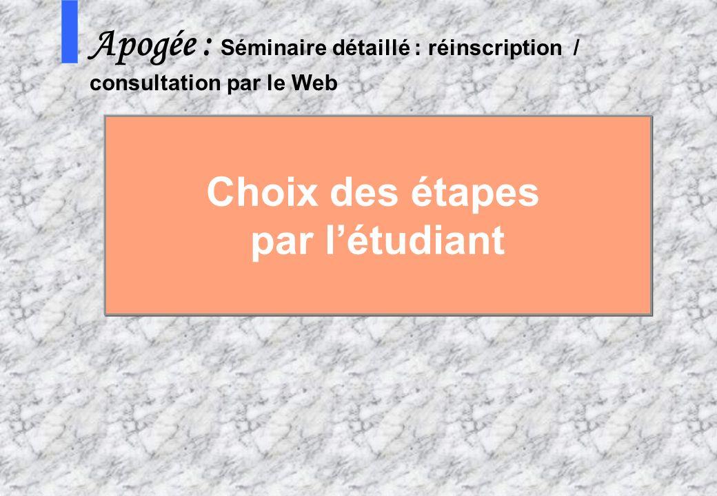 99 AMUE mars 2004 : Séminaire détaillé présentation Web S Apogée : Séminaire détaillé : réinscription / consultation par le Web Choix des étapes par l