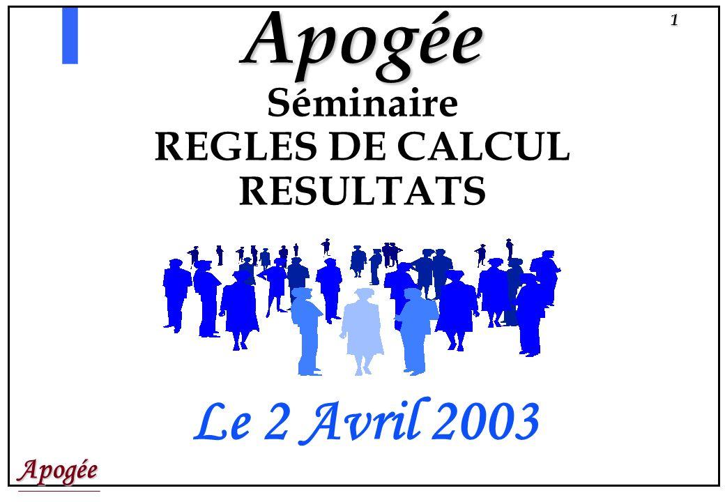 Apogée1 Apogée Séminaire REGLES DE CALCUL RESULTATS Le 2 Avril 2003