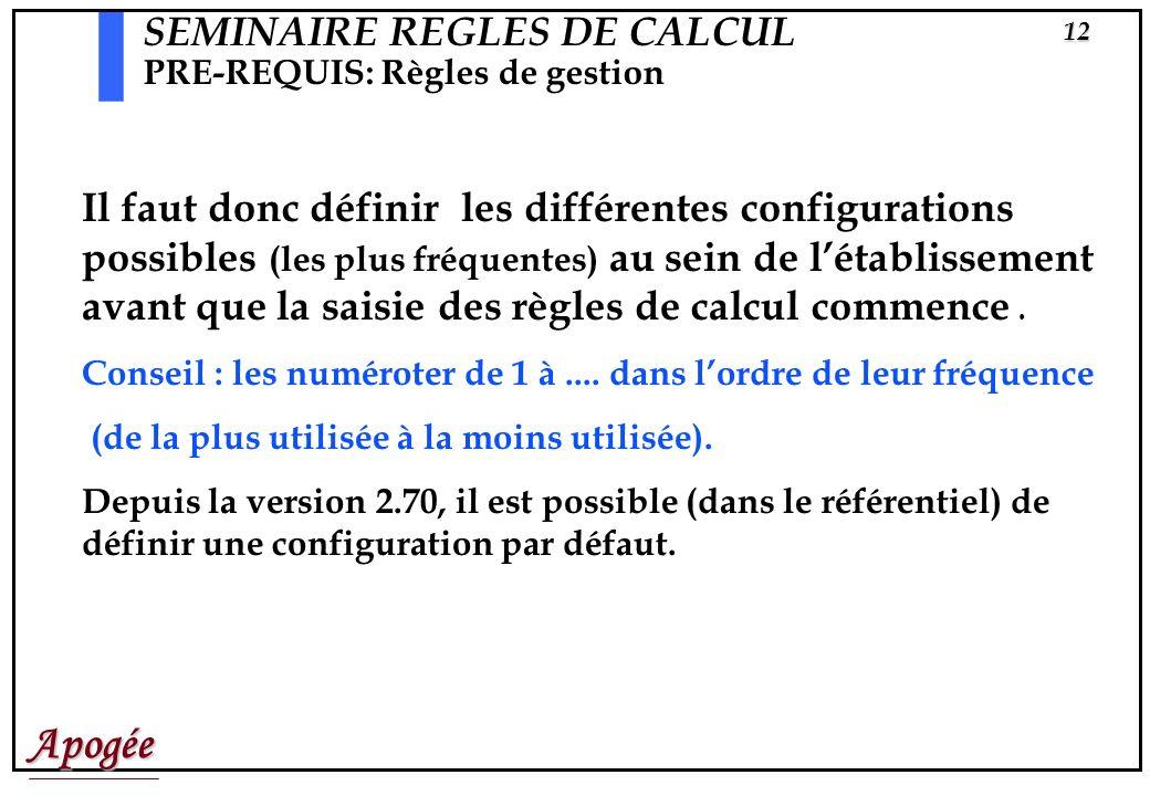 Apogée11 SEMINAIRE REGLES DE CALCUL PRE-REQUIS: Règles de gestion Paramétrages des règles de calcul de notes. Exemples: N1 C1 N2 C2 Choix Moyenne = 10