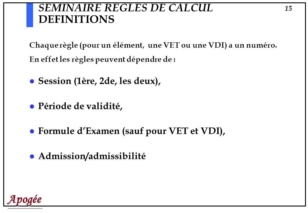 Apogée14 SEMINAIRE REGLES DE CALCUL DEFINITIONS Une Règle de Calcul est lexpression du mode dévaluation dun élément pédagogique (ou dune VET ou dune V