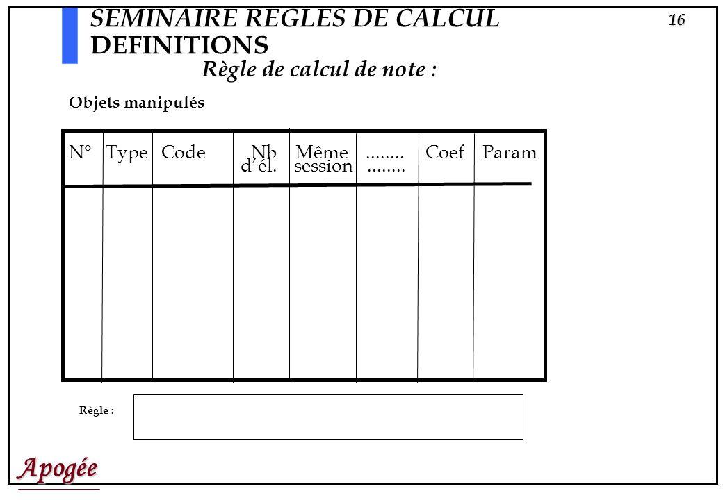 Apogée15 SEMINAIRE REGLES DE CALCUL DEFINITIONS Chaque règle (pour un élément, une VET ou une VDI) a un numéro. En effet les règles peuvent dépendre d