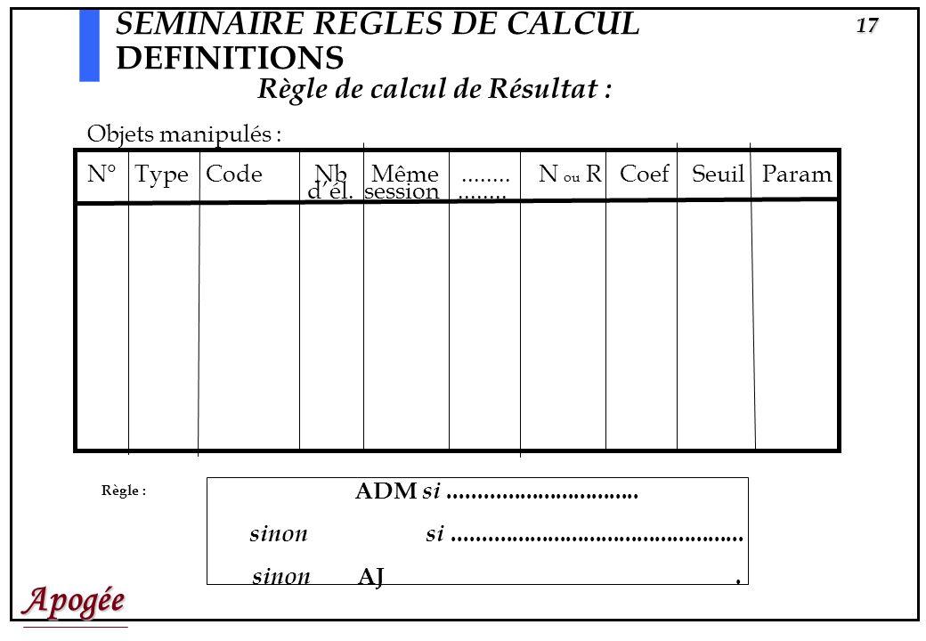 Apogée16 SEMINAIRE REGLES DE CALCUL DEFINITIONS Règle de calcul de note : Objets manipulés N° Type Code Nb Même........ Coef Param dél. session.......