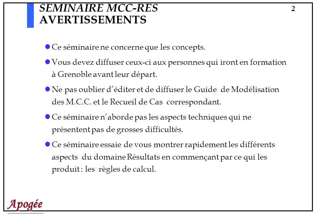 Apogée2 SEMINAIRE MCC-RES AVERTISSEMENTS Ce séminaire ne concerne que les concepts.