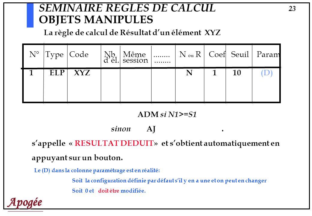 Apogée22 SEMINAIRE REGLES DE CALCUL OBJETS MANIPULES MÊME SESSION ? Quand, pour un objet manipulé, cette case est cochée les calculs se feront avec la