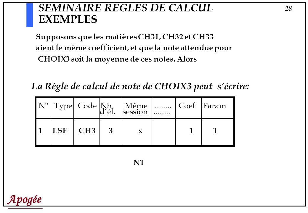 Apogée27 SEMINAIRE REGLES DE CALCUL EXEMPLES Règle de calcul de Résultat de la VET N° Type Code Nb Même........ N ou R Coef Seuil Param dél. session..