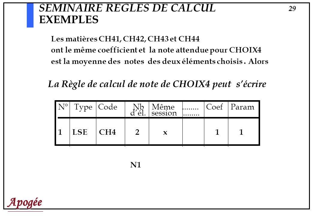 Apogée28 SEMINAIRE REGLES DE CALCUL EXEMPLES N° Type Code Nb Même........ Coef Param dél. session........ 1 LSE CH3 3 x 1 1 Supposons que les matières