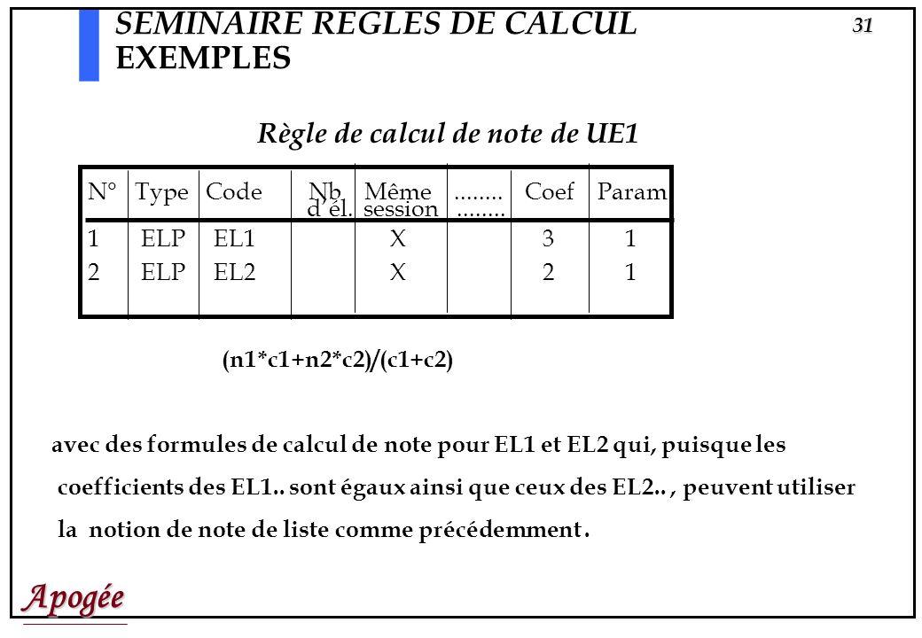 Apogée30 Liste1 | o EL1 3 EL2 2 Liste LEL1 |o EL11 1 EL12 1 EL13 1 Liste LEL2 |x EL21 1 EL22 1 EL23 1 EL24 1 SEMINAIRE REGLES DE CALCUL AUTRE EXEMPLE: