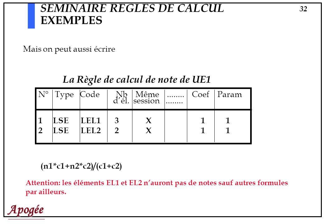 Apogée31 SEMINAIRE REGLES DE CALCUL EXEMPLES Règle de calcul de note de UE1 N° Type Code Nb Même........ Coef Param dél. session........ 1 ELP EL1 X 3