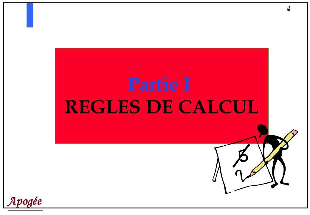 Apogée3 PARTIE I : REGLES DE CALCUL Pré-requis Définitions Objets manipulés et notions associées Exemples PARTIE II : RESULTATS Préparer la session Sa