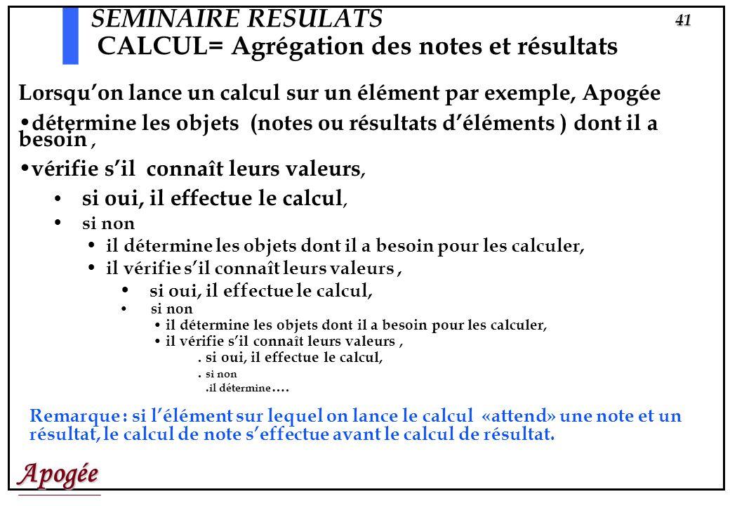 Apogée40 SEMINAIRE RESULATS CALCUL= Agrégation des notes et résultats Il faut «lancer les calculs»! Il y a des calculs de notes, de résultats et évent