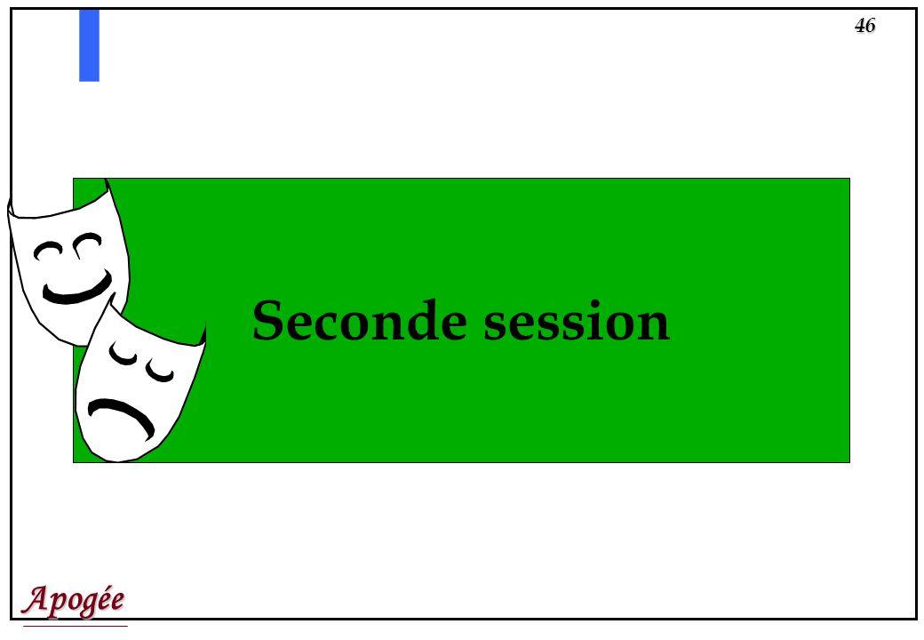Apogée45 SEMINAIRE RESULATS DELIBERATIONS Il y a trois états davancement de délibération: létat A = avant délibération, létat E = en cours de délibéra