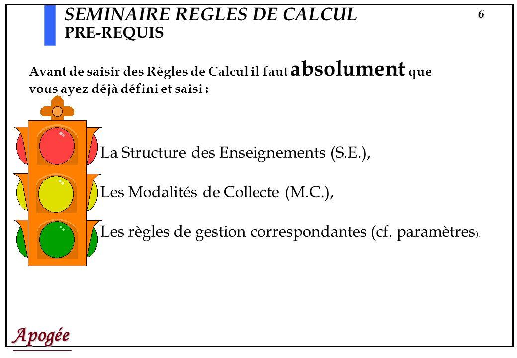 Apogée6 SEMINAIRE REGLES DE CALCUL PRE-REQUIS Avant de saisir des Règles de Calcul il faut absolument que vous ayez déjà défini et saisi : La Structure des Enseignements (S.E.), Les Modalités de Collecte (M.C.), Les règles de gestion correspondantes (cf.
