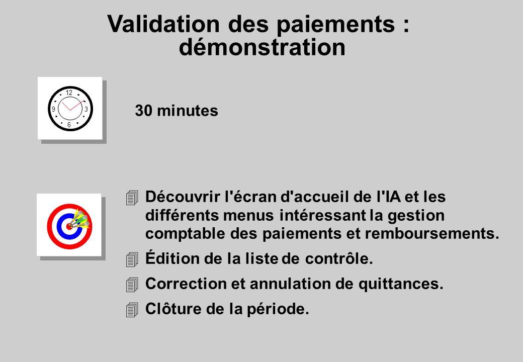 Validation des paiements : démonstration 12 6 3 9 30 minutes 4Découvrir l'écran d'accueil de l'IA et les différents menus intéressant la gestion compt