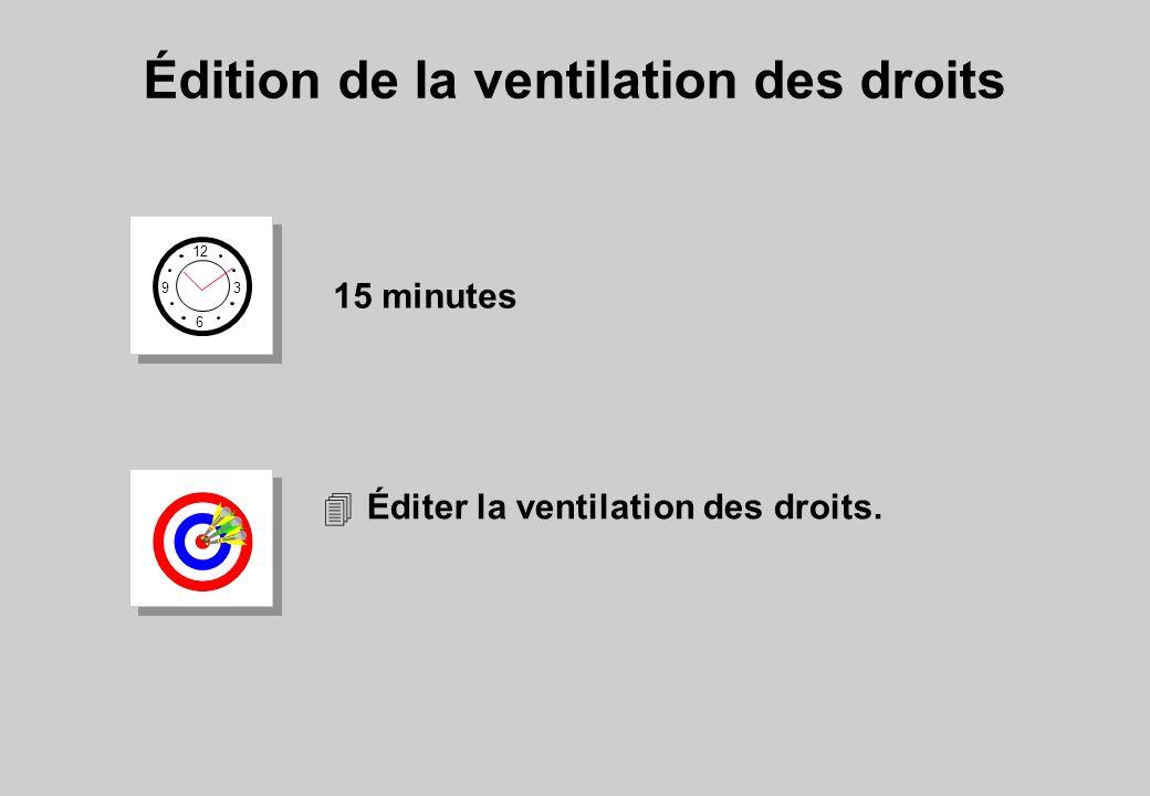 Édition de la ventilation des droits 12 6 3 9 15 minutes 4Éditer la ventilation des droits.