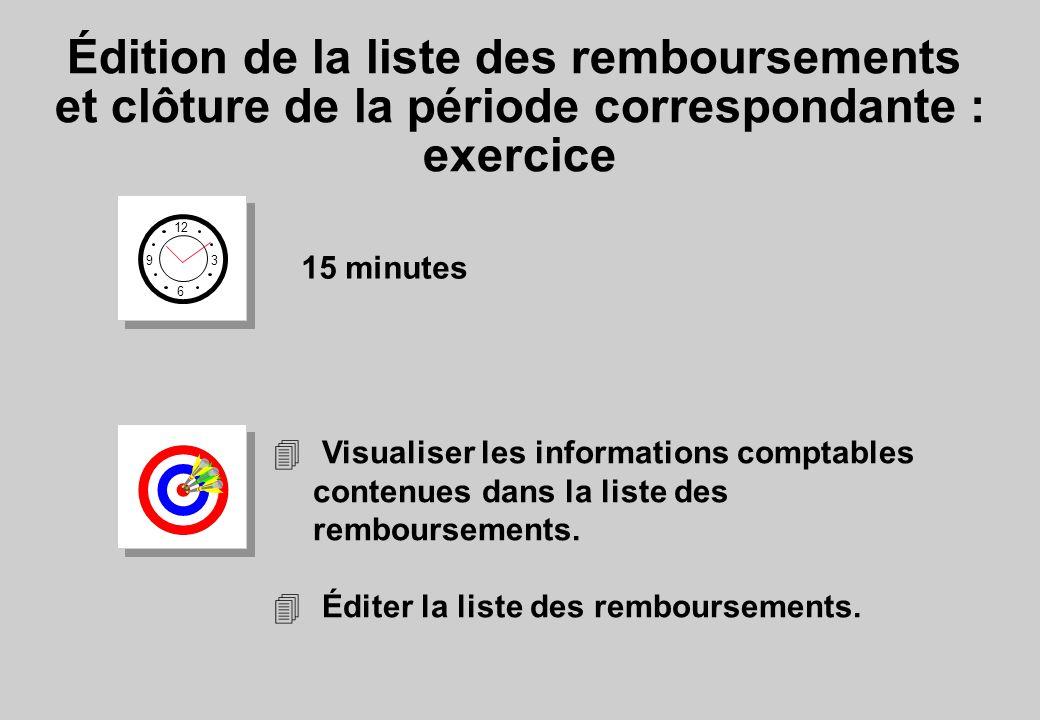 Édition de la liste des remboursements et clôture de la période correspondante : exercice 12 6 3 9 15 minutes 4 Visualiser les informations comptables