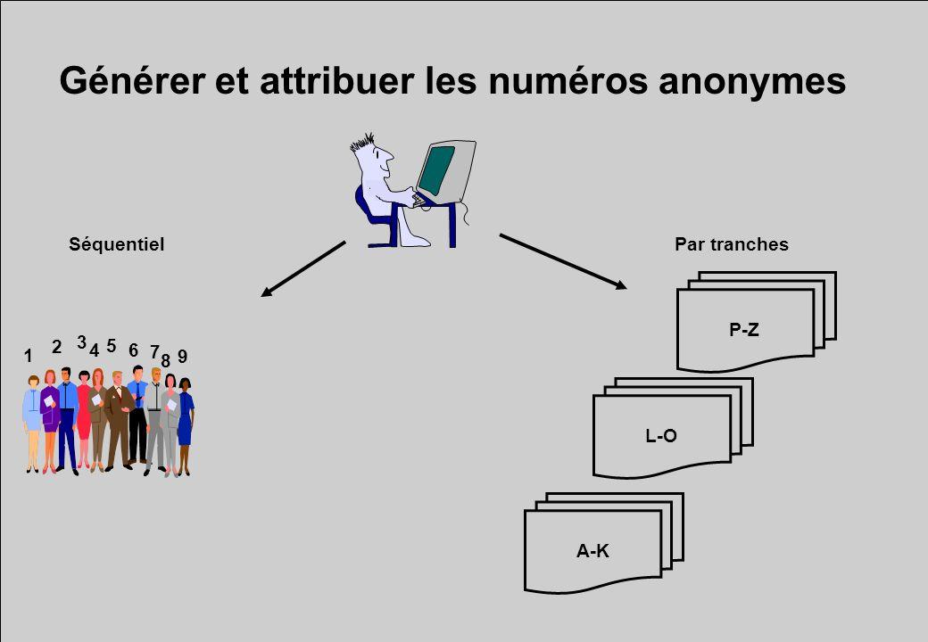 Générer et attribuer les numéros anonymes P-Z L-O A-K Par tranches 1 2 3 4 5 6 7 8 9 Séquentiel