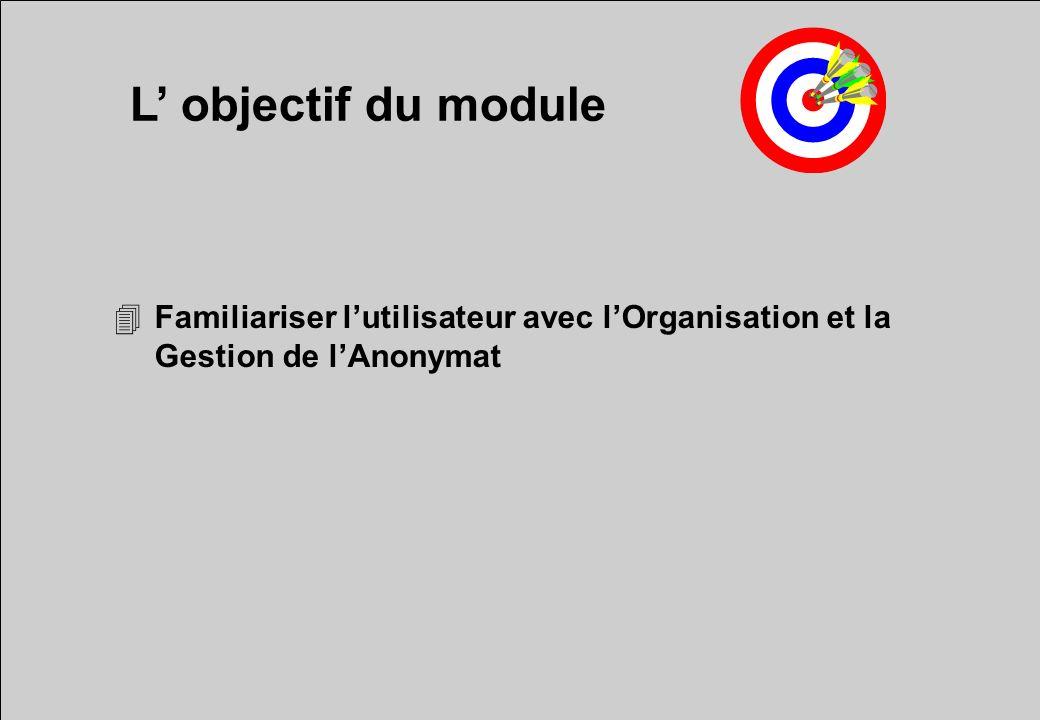 L objectif du module 4Familiariser lutilisateur avec lOrganisation et la Gestion de lAnonymat