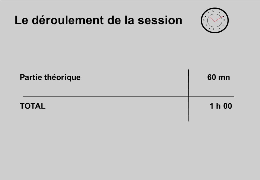 Le déroulement de la session 12 6 3 9 Partie théorique60 mn TOTAL 1 h 00