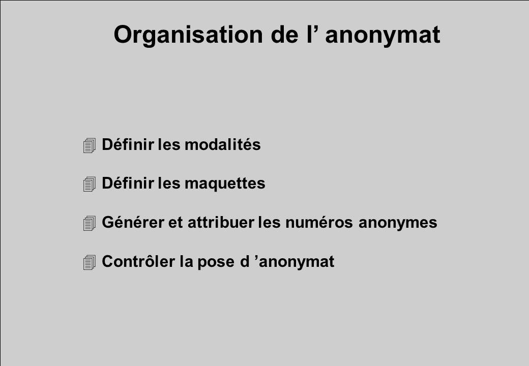 4 Définir les modalités 4 Définir les maquettes 4 Générer et attribuer les numéros anonymes 4 Contrôler la pose d anonymat Organisation de l anonymat