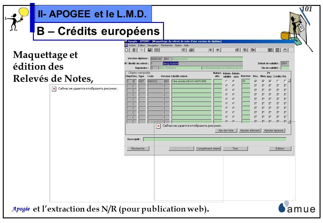 100 Apogée II- APOGEE et le L.M.D. B – Crédits européens et du domaine Résultats: Synthèse ou Détail du cursus,