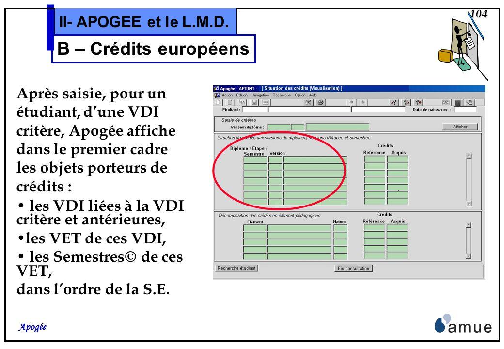103 Apogée II- APOGEE et le L.M.D. B – Crédits européens En outre un nouvel écran, accessible à partir de lécran de « Saisie individuelle » ou de lécr