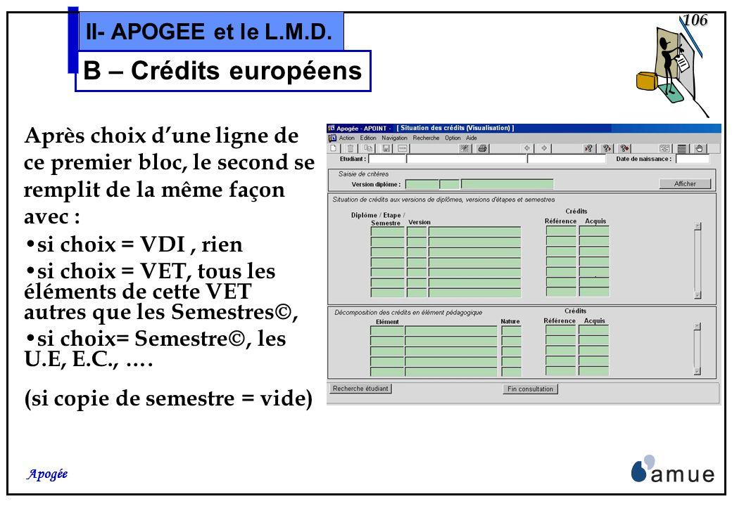 105 Apogée II- APOGEE et le L.M.D. B – Crédits européens Pour chacun de ces objets, sont affichés en deux colonnes: dans la première, les crédits de r