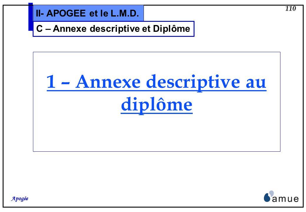 109 Apogée II- APOGEE et le L.M.D. C –Annexe descriptive et Diplôme