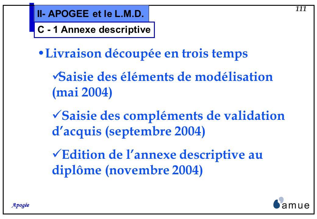 110 Apogée II- APOGEE et le L.M.D. C – Annexe descriptive et Diplôme 1 – Annexe descriptive au diplôme