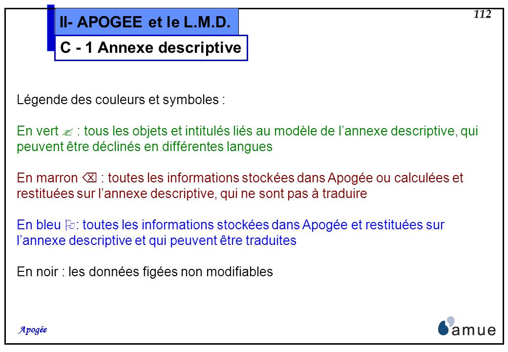 111 Apogée II- APOGEE et le L.M.D. C - 1 Annexe descriptive Livraison découpée en trois temps Saisie des éléments de modélisation (mai 2004) Saisie de