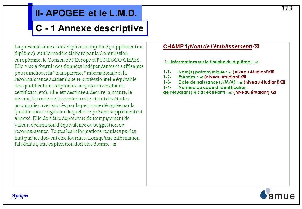 112 Apogée II- APOGEE et le L.M.D. Légende des couleurs et symboles : En vert : tous les objets et intitulés liés au modèle de lannexe descriptive, qu
