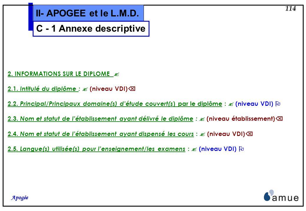 113 Apogée II- APOGEE et le L.M.D. La présente annexe descriptive au diplôme (supplément au diplôme) suit le modèle élaboré par la Commission européen