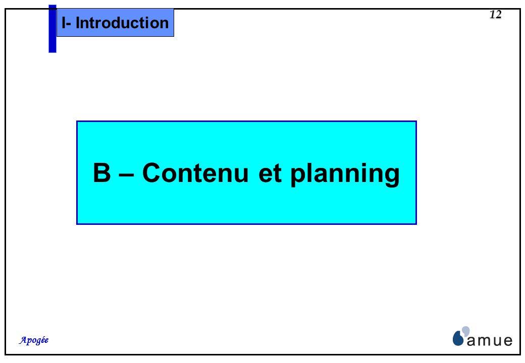 11 Apogée La démarche Apogée : Participation des établissements dans toutes les phases dun projet basé sur un processus itératif I- Introduction Réali