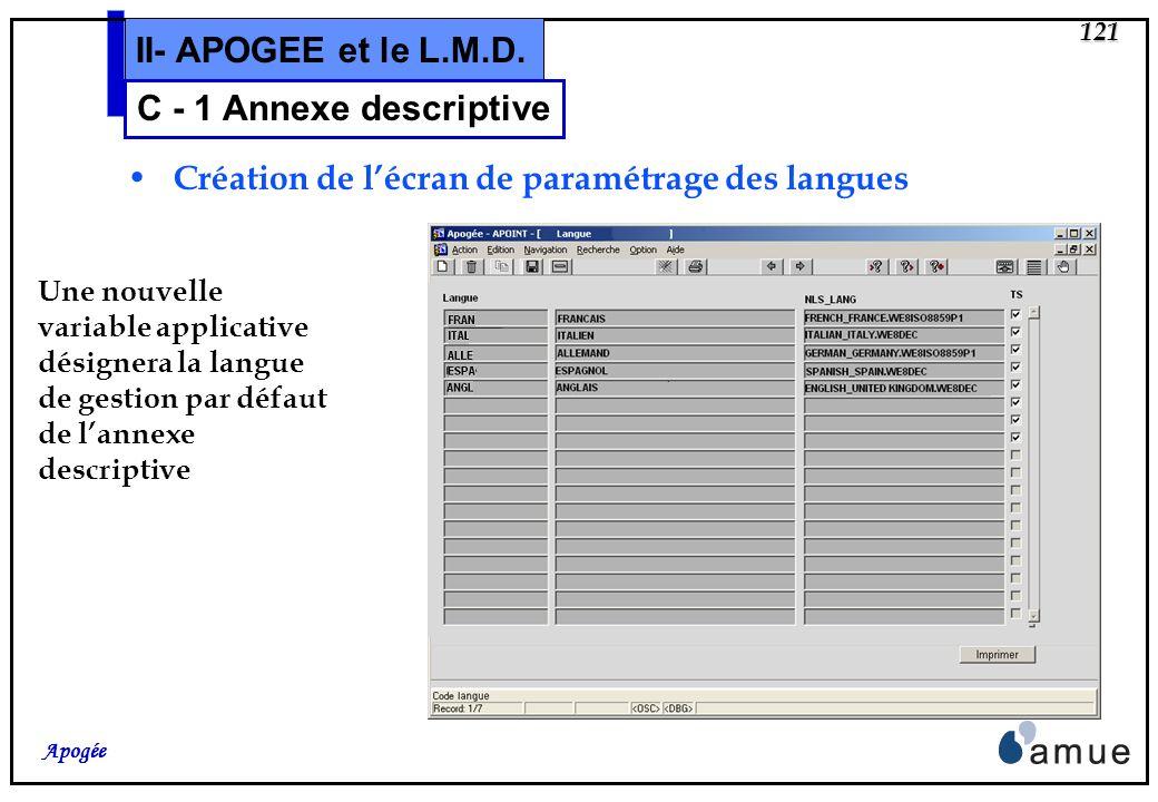 120 Apogée II- APOGEE et le L.M.D. Les informations de niveau établissement Nouvel écran de paramétrage des langues Nouvel écran de paramétrage du mod