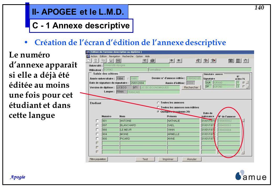 139 Apogée II- APOGEE et le L.M.D. Edition des annexes descriptives conditionnée par le contrôle de délivrance autorisée sur le diplôme indépendante d
