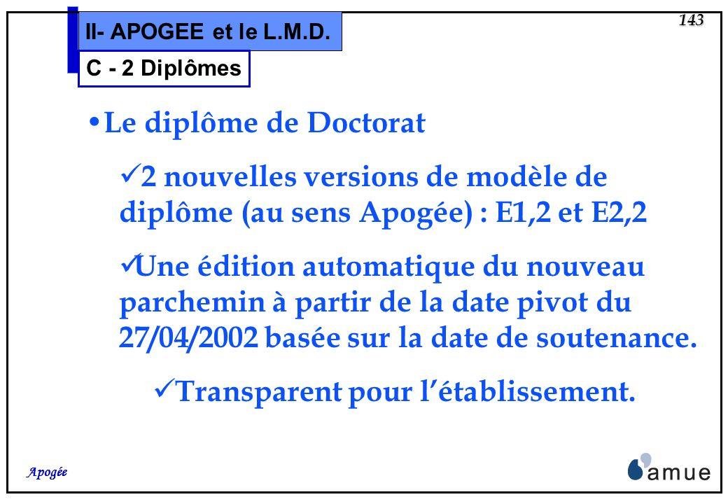 142 Apogée II- APOGEE et le L.M.D. C - 2 Diplômes Le diplôme de Licence et Master pas de maquette du Ministère (à ce jour) Le diplôme de Doctorat un p