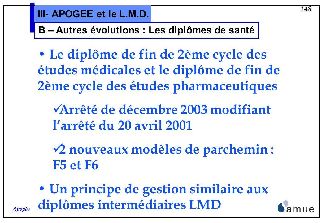 147 Apogée III- APOGEE et le L.M.D. A – Autres évolutions : Les remontées SISE SISE 05 Ajout dans le fichier denquête de la variable NUMINS : code de