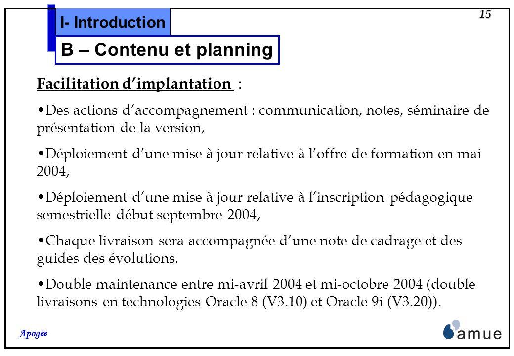 14 Apogée Planning prévisionnel : Conception Détaillée : Séminaire CD 1 : les 4 et 5 Février 2004, Séminaire CD 2 : les 2 et 3 mars 2004, Réalisation