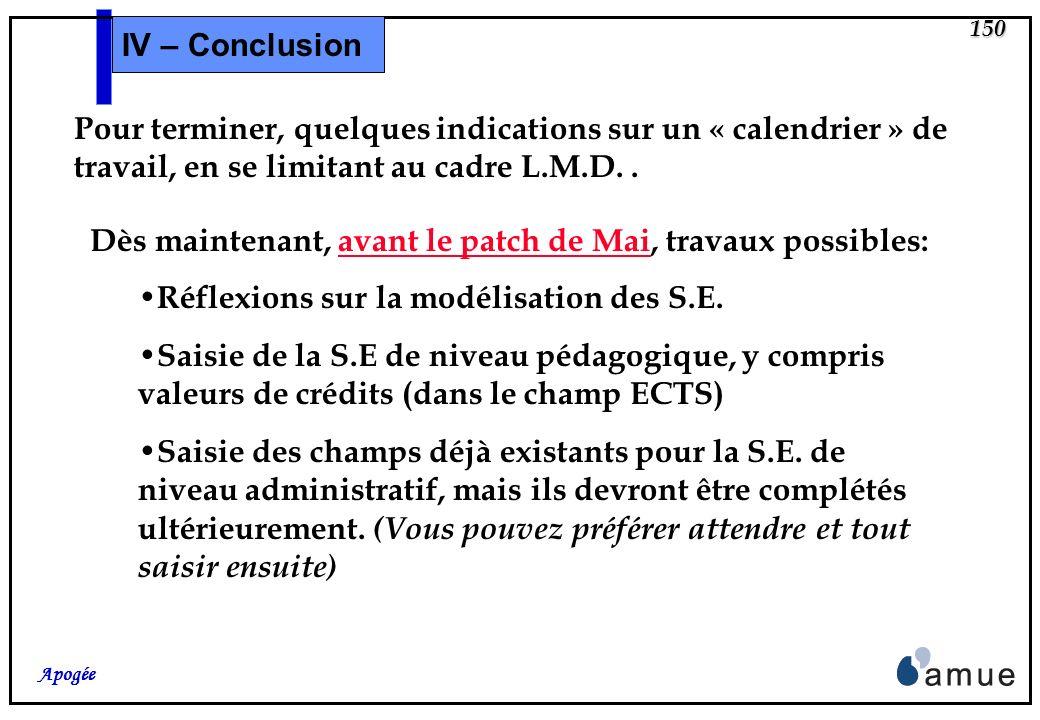 149 Apogée IV – Conclusion